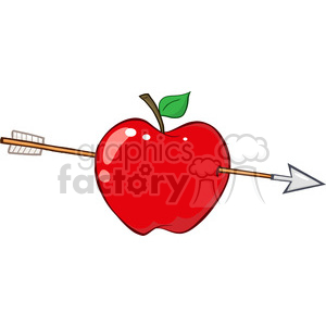 12935 RF Clipart Illustration Arrow Through Red Apple clipart. Royalty-free image # 385103