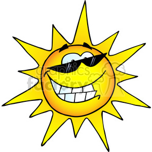 12888 RF Clipart Illustration Smiling Sun With Sunglasses clipart. Royalty-free image # 385113