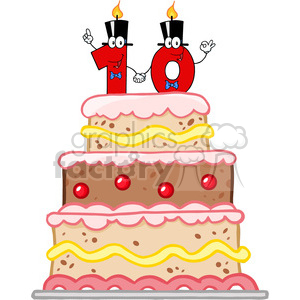 128126 RF Clipart Illustration Birthday Cake With Number Ten Candles Cartoon Character clipart. Commercial use image # 385123