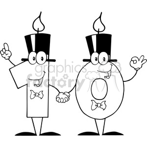 128123 RF Clipart Illustration Number Ten Candles Cartoon Character animation. Royalty-free animation # 385143