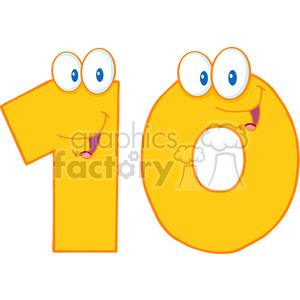 5027-Clipart-Illustration-of-Number-Ten-Cartoon-Mascot-Character clipart. Commercial use image # 385183
