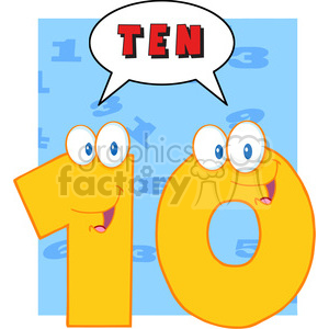5030-Clipart-Illustration-of-Number-Ten-Cartoon-Mascot-Character-With-Speech-Bubble clipart. Commercial use image # 385203