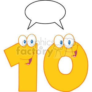 5028-Clipart-Illustration-of-Number-Ten-Cartoon-Mascot-Character-With-Speech-Bubble clipart. Commercial use image # 385223