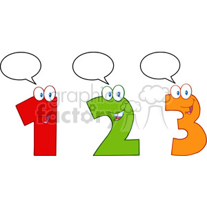 4984-Clipart-Illustration-of-Numbers-One,Two-And-Three-Cartoon-Mascot-Characters-With-Speech-Bubble clipart. Royalty-free image # 385233
