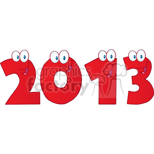 4987-Clipart-Illustration-of-2013-New-Year-Red-Numbers-Cartoon-Characters clipart. Royalty-free image # 385243