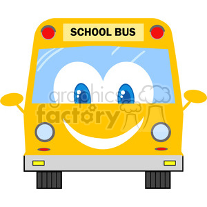 5055-Clipart-Illustration-of-School-Bus-Cartoon-Mascot-Character clipart. Commercial use image # 385273