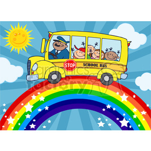 5051-Clipart-Illustration-of-School-Bus-With-Happy-Children-Around-Rainbow clipart. Royalty-free image # 385293