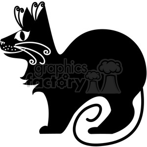 vector clip art illustration of black cat 071 clipart. Commercial use image # 385303