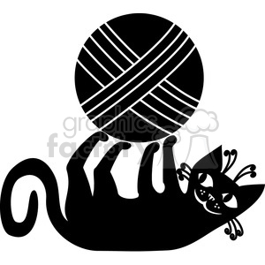 black cats white animals feline kitten pet playing yarn ball