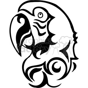 vector black+white animals wild outline vinyl-ready parrot bird tattoo