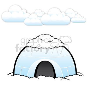 vector igloo with snow on top clipart. Royalty-free image # 385593