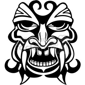 tiki ancient face masks decor black+white vinyl+ready illustrations facial tattoo