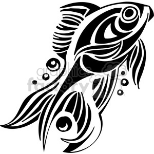 fish black+white tattoo design illustration