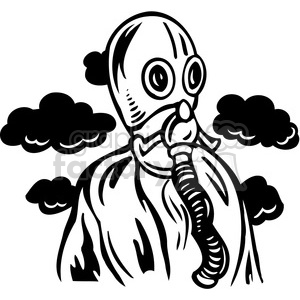 person wearing gas mask clipart. Commercial use image # 386118
