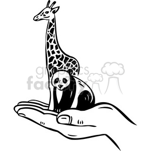 eco environment illustration logo symbols elements earth hand animals panda giraffe