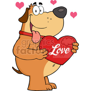5239-Fat-Dog-Holding-Up-A-Red-Heart-With-Text-Royalty-Free-RF-Clipart-Image clipart. Royalty-free image # 386227