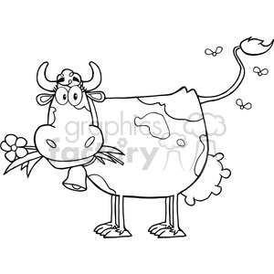 Dairy Cow With Flower In Mouth clipart. Commercial use image # 386463