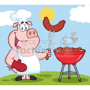 Happy Pig Chef Cook At Barbecue clipart. Commercial use image # 386523