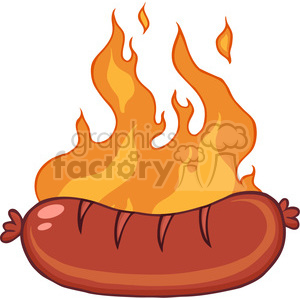 Grilled Sausage With Flames clipart. Royalty-free icon # 386533