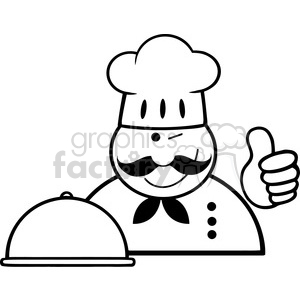 Royalty-Free-RF-Clipart-Winked-Chef-Logo-With-Platter-Showing-Thumbs-Up