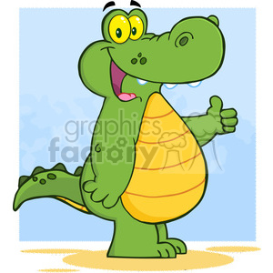Smiling Alligator Or Crocodile Showing Thumbs Up clipart. Commercial use image # 386603