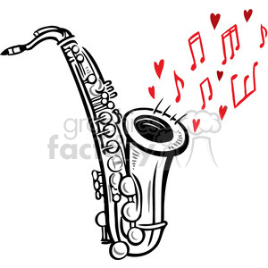 saxophone playing love song clipart. Commercial use image # 386662