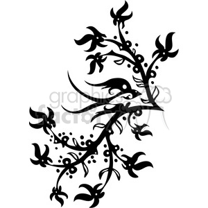 black+white swirl designs tattoo Chinese Asian floral organic vinyl+ready flowers bird