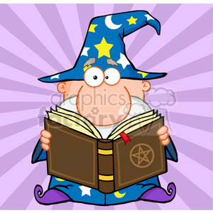 RF Funny Wizard Holding A Magic Book clipart. Royalty-free image # 386830