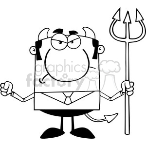 Clipart of Angry Devil With A Trident clipart. Commercial use image # 386880