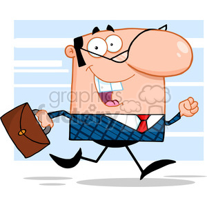 RF Lucky Business Manager Running To Work With Briefcase clipart. Royalty-free image # 386890