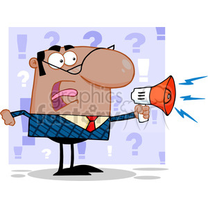 Royalty Free Excited African American Business Manager Speaking Through A Megaphone clipart. Royalty-free image # 386910