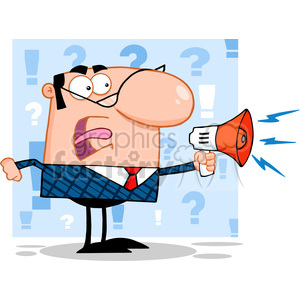 RF Excited Business Manager Speaking Through A Megaphone clipart. Commercial use image # 386960