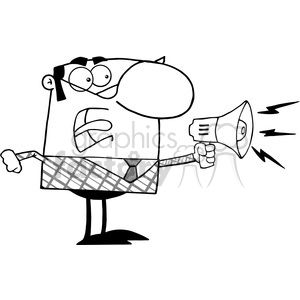 Clipart of Excited Business Manager Speaking Through A Megaphone clipart. Royalty-free image # 386970