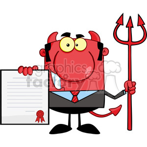 Royalty Free Smiling Devil Boss With A Trident Holds Up A Contract clipart. Royalty-free image # 386980