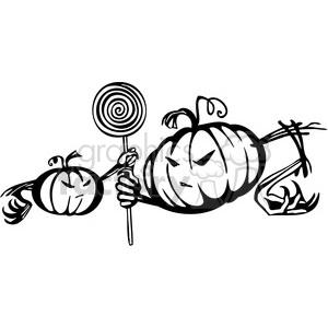 Halloween scary black+white vinyl+ready pumpkin jack+olantern