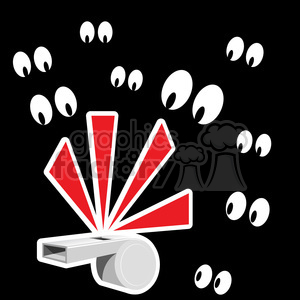 whistle blowing with eyes watching clipart. Royalty-free image # 387141