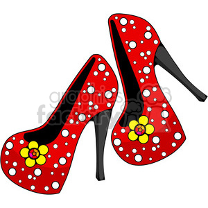 red heels 6 pearls and flowers