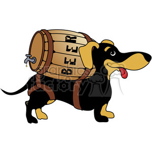Dachshund with beer barrel on his back clipart. Royalty-free image # 387500