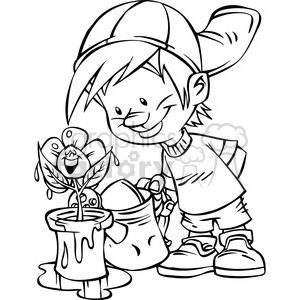 cartoon boy watering flowers bw clipart. Commercial use image # 387807