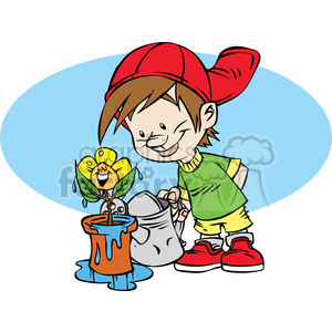 cartoon funny silly comical characters kid watering flowers