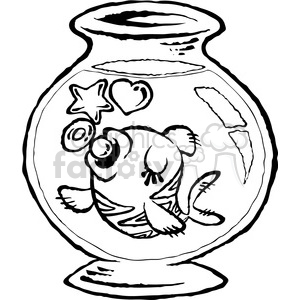 cartoon gold fish bw clipart. Royalty-free image # 387837