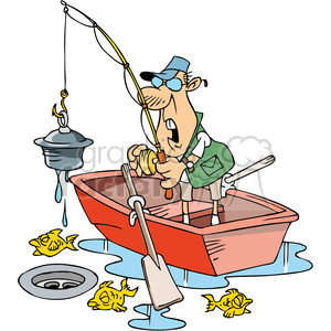 cartoon fishing character finding junk clipart. Commercial use image # 387847