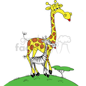 cartoon giraffe with a zebra