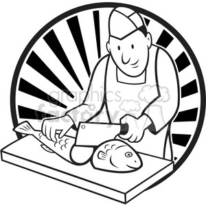 black and white fishmonger chop fish 001 circle clipart. Royalty-free image # 387871