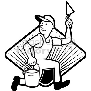 black and white plasterer mason worker running pail clipart. Royalty-free image # 387881