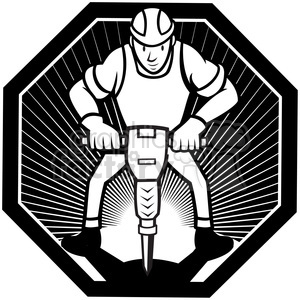 black and white construction worker jackhammer front hexa clipart. Commercial use image # 387901