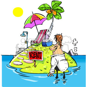 cartoon man looking to rent an island clipart. Commercial use image # 387913
