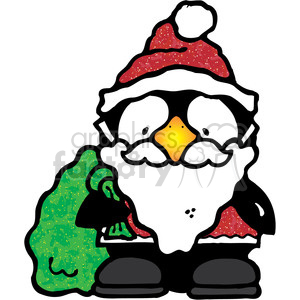 Penguin in a Santa Claus suit clipart. Commercial use image # 388027