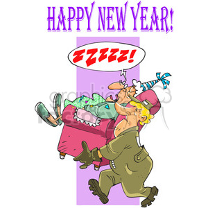 cartoon funny moving man carrying chair move relocation Happy+New+Year zzzzz