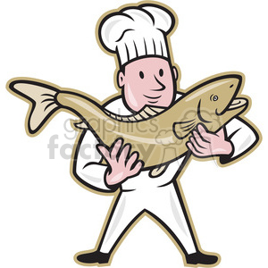 chef cook holding trout fish clipart. Commercial use image # 388096